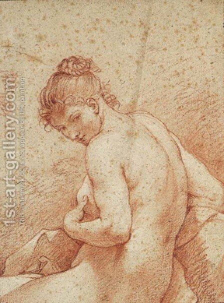 A seated Nude Woman, half-length, facing left by Charles Joseph Natoire - Reproduction Oil Painting