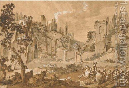 A view of the Pincian Hill with ruins, a woman on horseback, a cart, animals and figures in the foreground by Charles Joseph Natoire - Reproduction Oil Painting