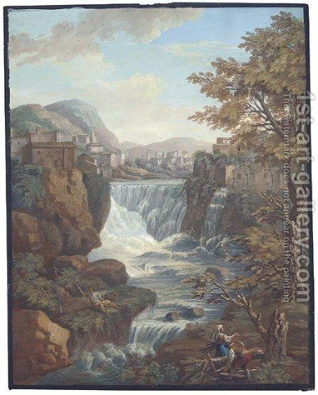 An extensive mountainous landscape with a waterfall by a town, peasants fishing and gathering wood in the foreground by Charles-Louis Clerisseau - Reproduction Oil Painting