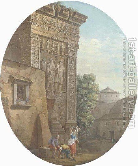 The Arch of the Argentieri, Rome, with figures in the foreground by Charles-Louis Clerisseau - Reproduction Oil Painting