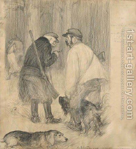 Champsecret discussing the hunt by Charles Leandre - Reproduction Oil Painting