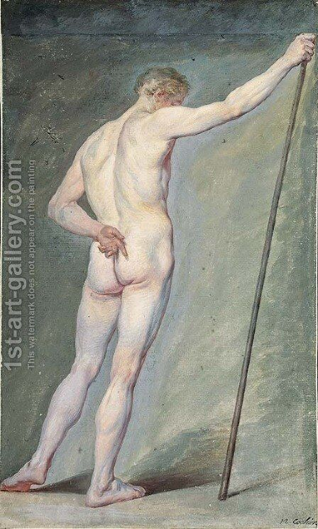 A Nude holding a Stick, seen from behind by Charles-Nicolas I Cochin - Reproduction Oil Painting