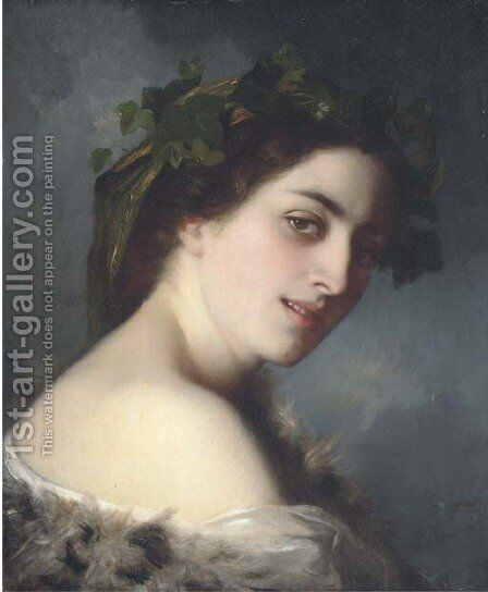 Portrait of a lady, head and shoulders by Charles Zacharie Landelle - Reproduction Oil Painting