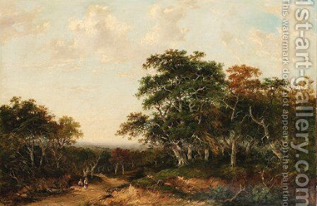 A wooded landscape with travellers on a path by Charlotte Nasmyth - Reproduction Oil Painting