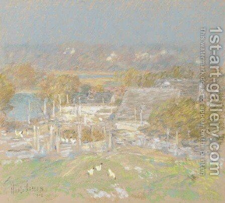 Chicken Yard Back of the Holley House by Childe Hassam - Reproduction Oil Painting