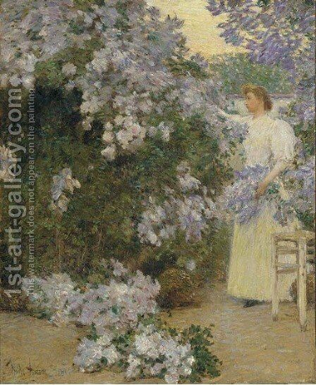 Mrs. Hassam in the Garden by Childe Hassam - Reproduction Oil Painting