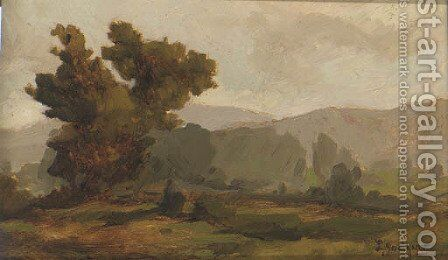 A landscape sketch with trees; with two further similar by Chilean School - Reproduction Oil Painting