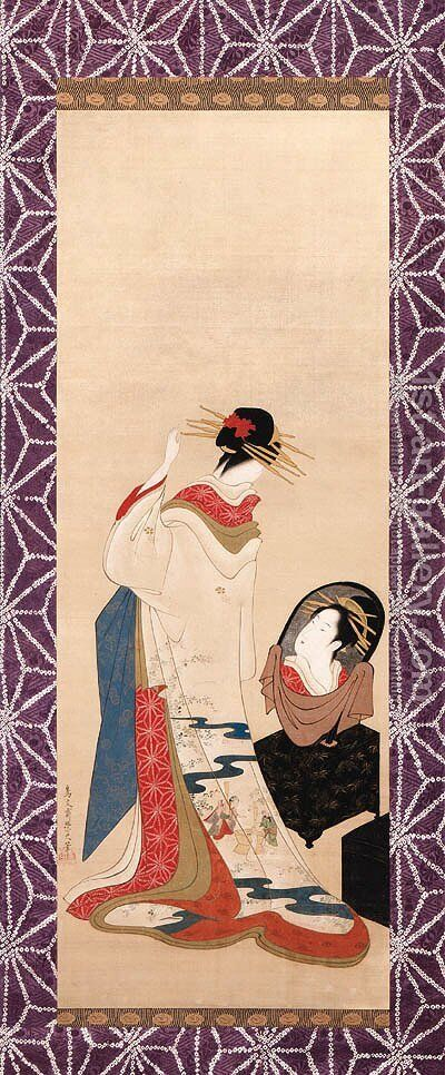 Beauty at her toilette by Chobunsai Eishi - Reproduction Oil Painting