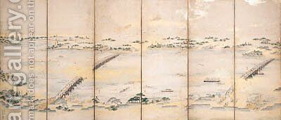 Scenes along the Sumida River by Chobunsai Eishi - Reproduction Oil Painting