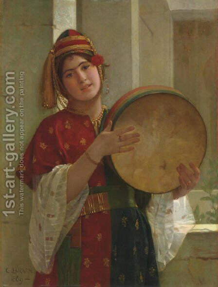 A Young Turkish Woman by Christen Brun - Reproduction Oil Painting