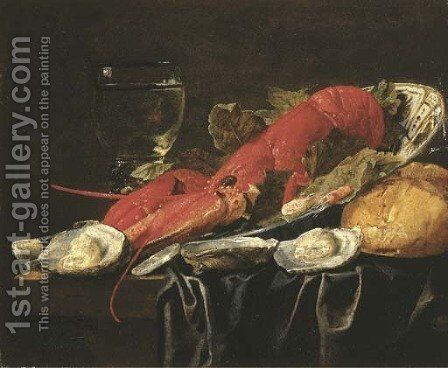 A lobster, shrimps and vine leaves in a Wanli 'kraak' porcelein bowl, a roemer, oysters and a loaf of bread on a partially draped table by Christian Luycks - Reproduction Oil Painting