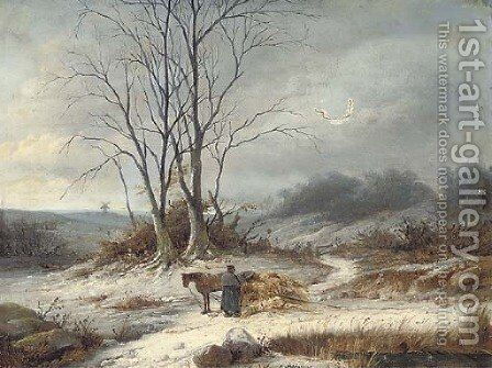 The broken cart by Christian Andreas Schleisner - Reproduction Oil Painting