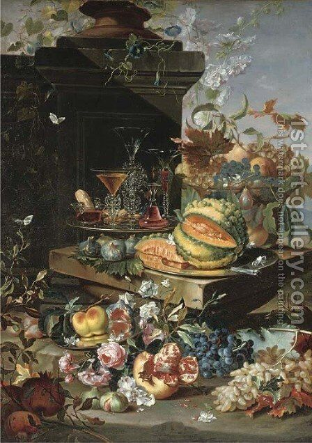 A sliced pumpkin on a silver plate, 'facon-de-venise' glasses on a second silver plate, grapes, peaches and plums in a glass bowl with more grapes by Christian Berentz - Reproduction Oil Painting