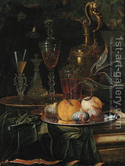 Figs and peaches on a pewter platter, glasses of wine on a gold dish, an ornamental silver-gilt ewer and a knife on a partly draped ledge by Christian Berentz - Reproduction Oil Painting