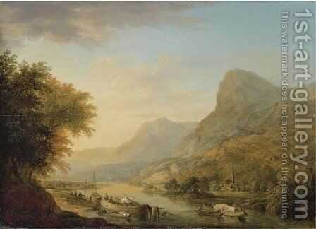A mountainous river landscape with a town beyond by Christian Georg Schuttz II - Reproduction Oil Painting