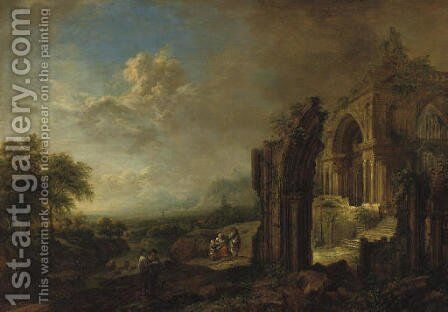 A wooded river landscape with travellers by a ruined gothic church by Christian Georg Schuttz II - Reproduction Oil Painting