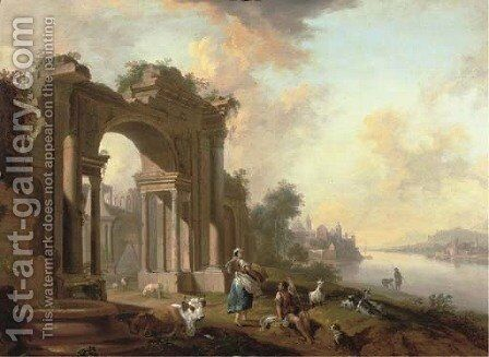An architectural 'capriccio' with a shepherd and a washerwoman by a river, a town beyond by Christian Georg Schuttz II - Reproduction Oil Painting