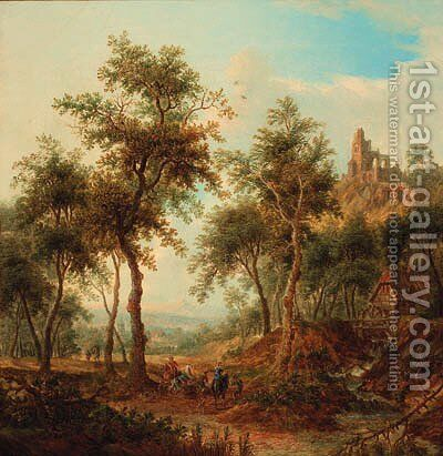 A wooded landscape with a hunting party by a stream, a ruined castle on a hill beyond by Christian Georg Schuttz II - Reproduction Oil Painting