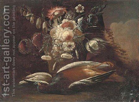 Still life of a dead pheasant and song bird by Christian Georg II Schutz or Schuz - Reproduction Oil Painting