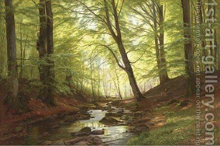 A Stream in a Forest by Christian Zacho - Reproduction Oil Painting