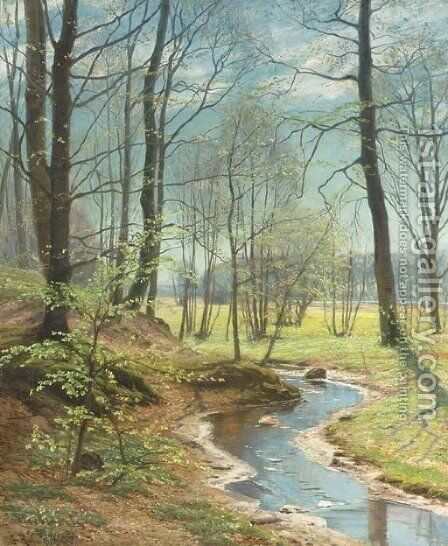 A Stream in the Woods by Christian Zacho - Reproduction Oil Painting