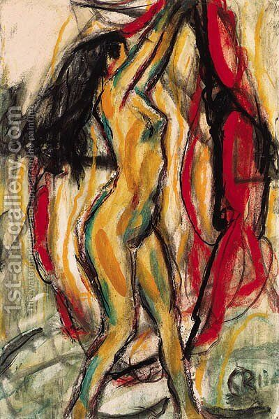 Sich streckender Akt by Christian Rohlfs - Reproduction Oil Painting