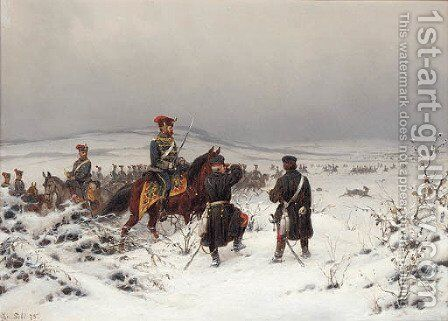 German cavalry in a winter landscape by Christian Sell - Reproduction Oil Painting