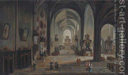 A church interior with elegant company by Christian Stocklin - Reproduction Oil Painting