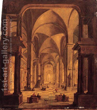 A view in a Gothic church with elegant townsfolk by Christian Stcklin - Reproduction Oil Painting
