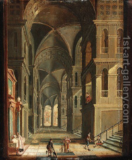 The interior of a cathedral with figures by Christian Stocklin - Reproduction Oil Painting
