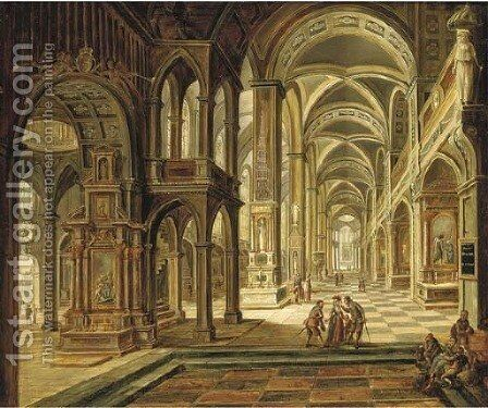 The interior of a Gothic church with elegant company conversing in the aisle by Christian Stocklin - Reproduction Oil Painting