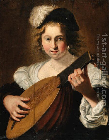 A lady playing a lute by Christiaen van Couwenbergh - Reproduction Oil Painting