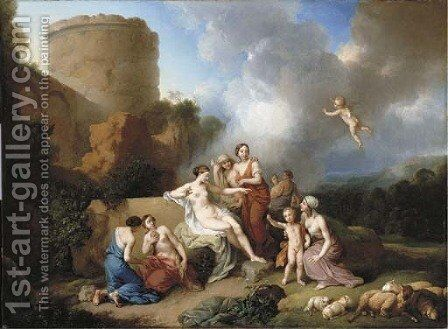 A classical landscape with Venus and Cupid, and attendant nymphs by Christian Wilhelm Ernst Dietrich - Reproduction Oil Painting
