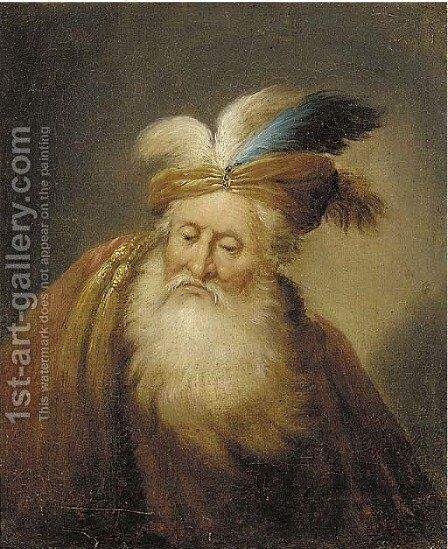 Portrait of an old man, bust-length, with a beard, wearing a turban and a red mantle by Christian Wilhelm Ernst Dietrich - Reproduction Oil Painting