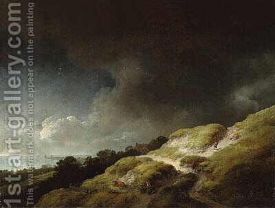 A dune landscape with figures and a cow on a hillside, beneath a stormy sky by Christian Wilhelm Ernst Dietrich - Reproduction Oil Painting
