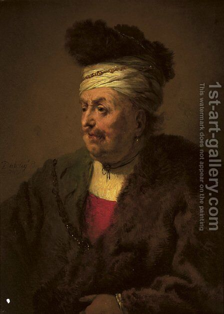 A man wearing a fur headdress and robe by Christian Wilhelm Ernst Dietrich - Reproduction Oil Painting
