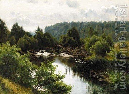 A quiet pool by Christian Zacho - Reproduction Oil Painting