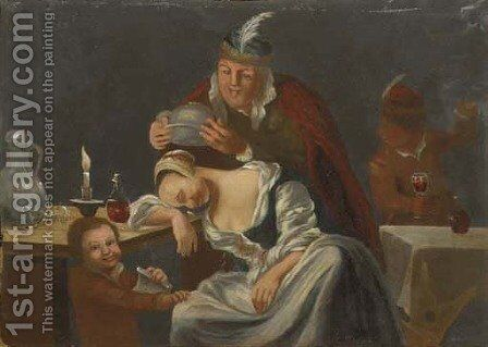 A tavern scene with a man teasing a sleeping woman by Christopher Pierson - Reproduction Oil Painting
