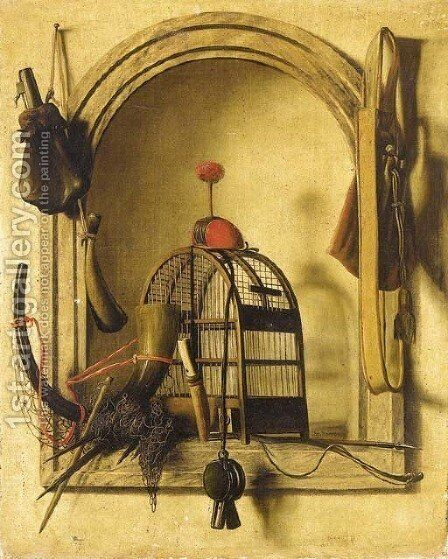 A trompe l'oeil of hunting equipment by Christopher Pierson - Reproduction Oil Painting