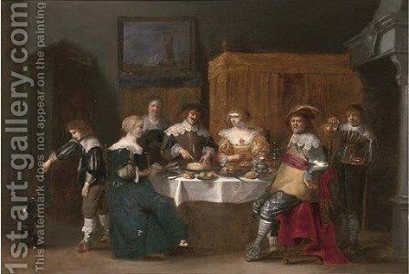 Elegant company eating and drinking in an interior by Christoffel Jacobsz van der Lamen - Reproduction Oil Painting