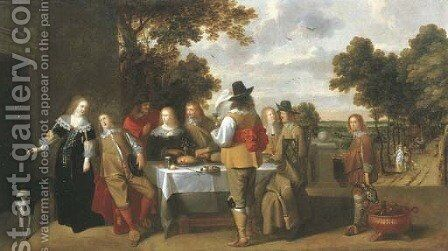 Elegant company eating and drinking on a terrace, a landscape beyond by Christoffel Jacobsz van der Lamen - Reproduction Oil Painting