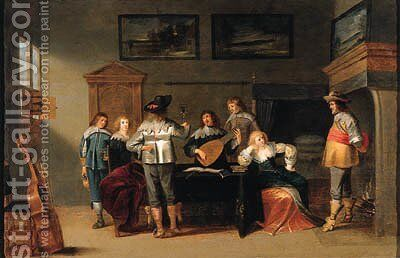 Officers in a brothel, with a lute player and a page nearby by Christoffel Jacobsz van der Lamen - Reproduction Oil Painting