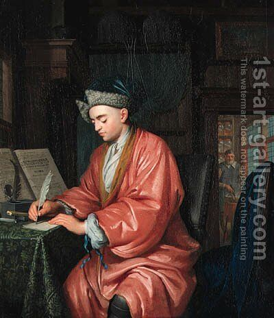 A doctor working in his study, an assistant preparing medicine beyond by Christoph Lubienietzki - Reproduction Oil Painting