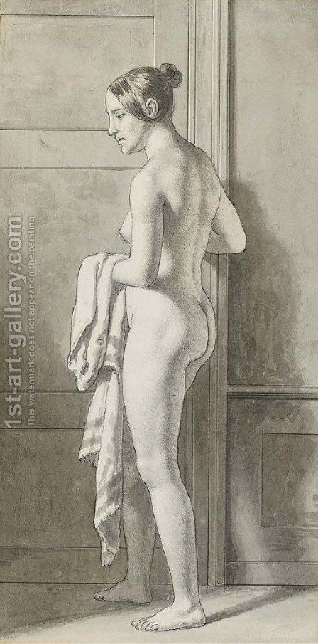 Florentine, nude, standing by a door holding a length of cloth by Christoffer Wilhelm Eckersberg - Reproduction Oil Painting