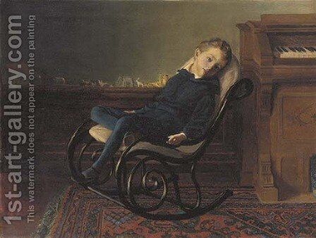 The Daydreamer by Christopher Whitworth Whall - Reproduction Oil Painting