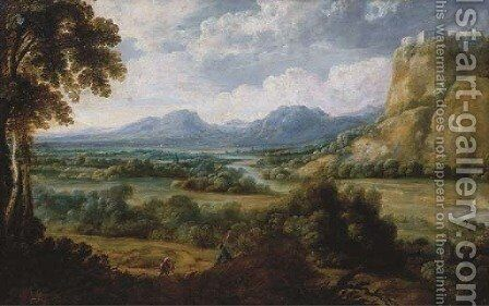 An extensive river landscape with a herdsman resting on a path, mountains beyond by (after) Lucas Van Uden - Reproduction Oil Painting