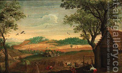 A harvest landscape with peasants toiling in a field, a farmstead beyond by (after) Abel Grimmer - Reproduction Oil Painting