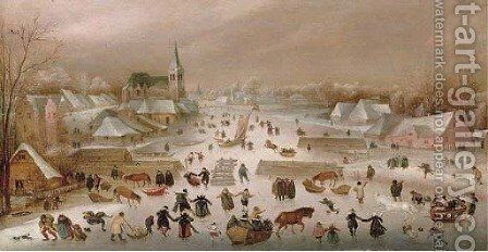 A winter landscape with skaters on a frozen river by a town by (after) Abel Grimmer - Reproduction Oil Painting