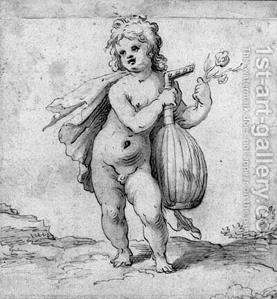 A putto holding a lute and a rose by (after) Abraham Bloemaert - Reproduction Oil Painting