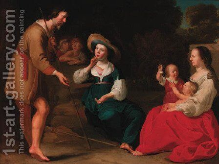 A shepherd family by (after) Abraham Bloemaert - Reproduction Oil Painting